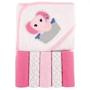 girl hooded towel and washcloth