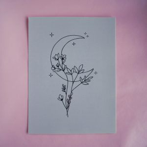 Mini poster - 15x20cm: Moon & flowers