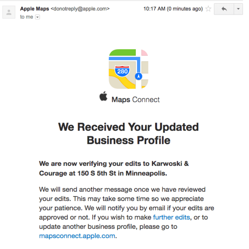 Screenshot: Apple Maps Connect Confirmation Email