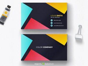 Colorful minimal business card design