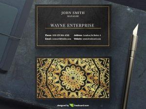 Golden mandala business card