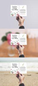 Creative Invitation / Greeting Card in Hand Mockup PSD
