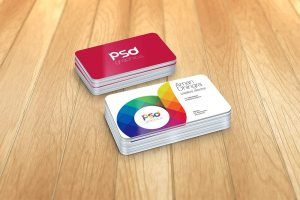 Creative Rounded Corner Business Card Mockup Free PSD Graphics