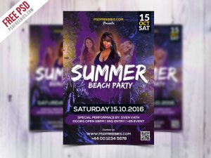 Creative Summer Beach Party Flyer Template Free PSD