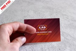 In-Hand Business Card Mockup Psd