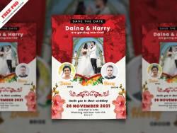 Wedding Invitation Card Free PSD