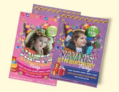 Birthday Invitation Card PSD - Boy and Girl Birthday Invite Card