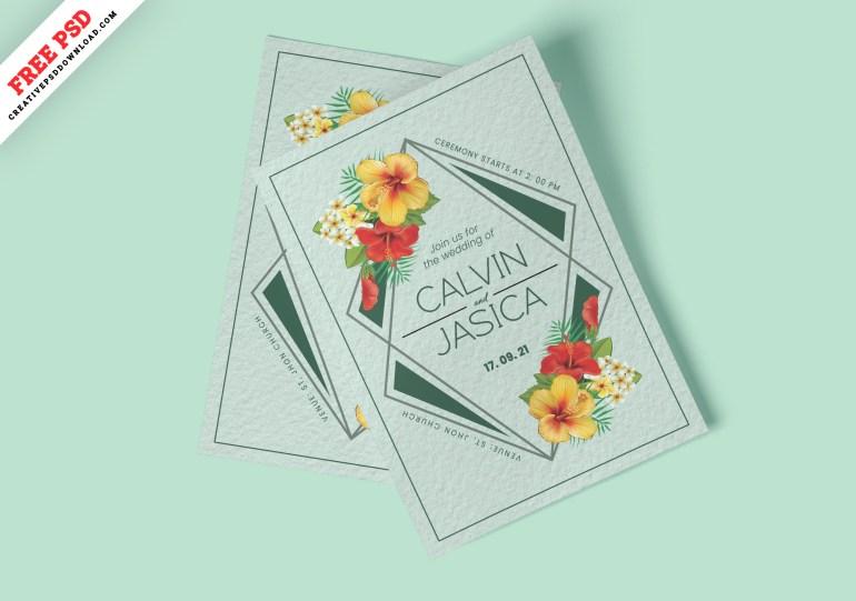 Minimalist Wedding Card Invitation Free PSD