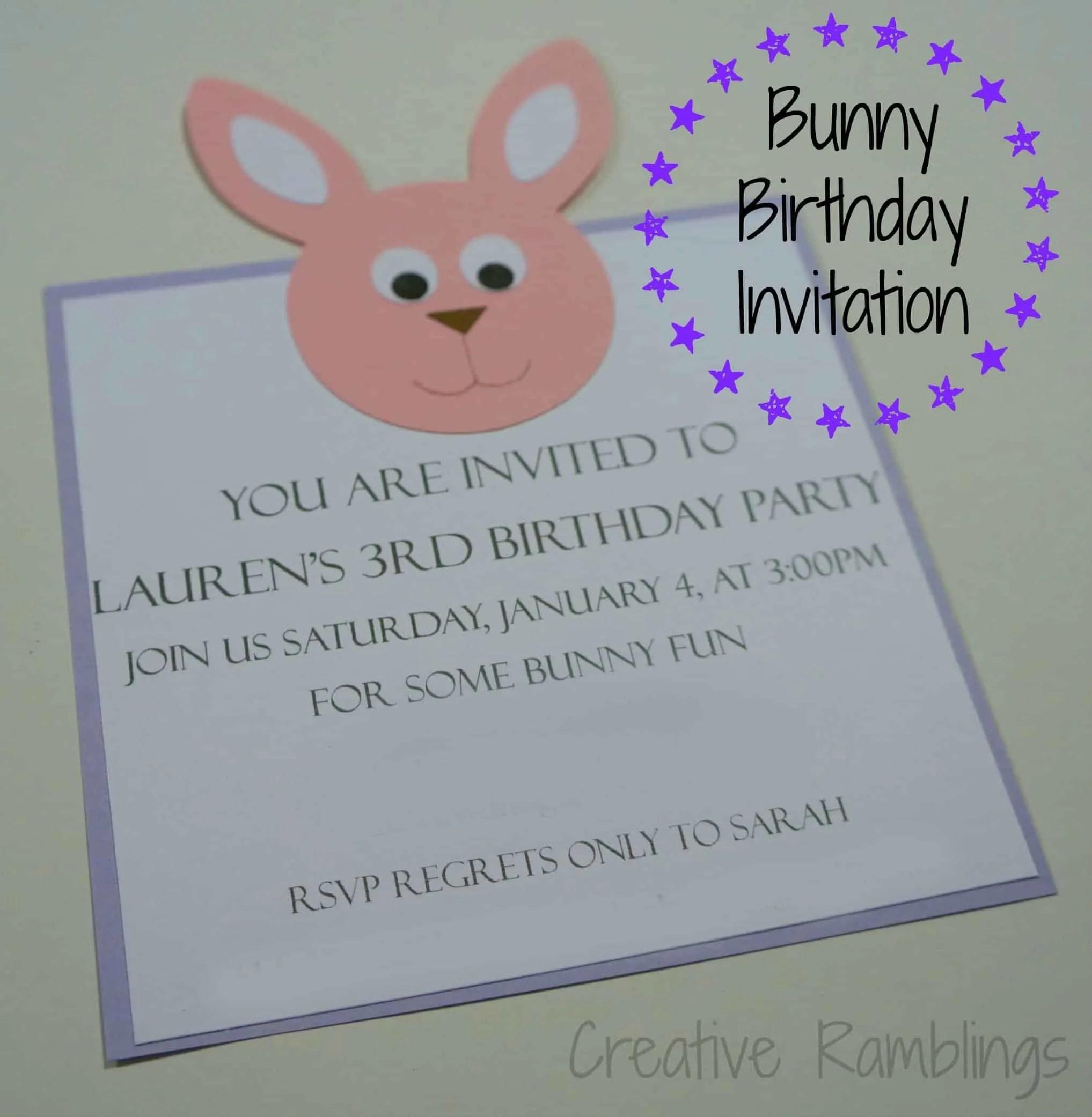 bunny birthday invitation creative