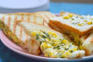 Corn Mayonnaise grilled sandwich - easy bread recipes | creativesaga