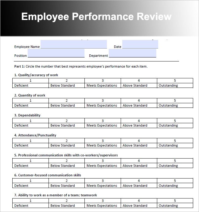 Performance Appraisal Template Word project management transition – Sample Performance Appraisal Form