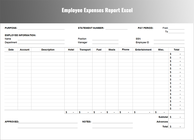 Expense Report Template Free. Business Reference Form Excel