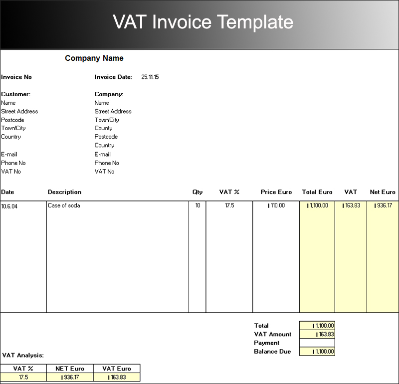 download simple vat invoice template | rabitah, Invoice examples