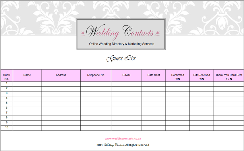 Guest List Wedding Template 7 wedding guest list template – Sample Guest List