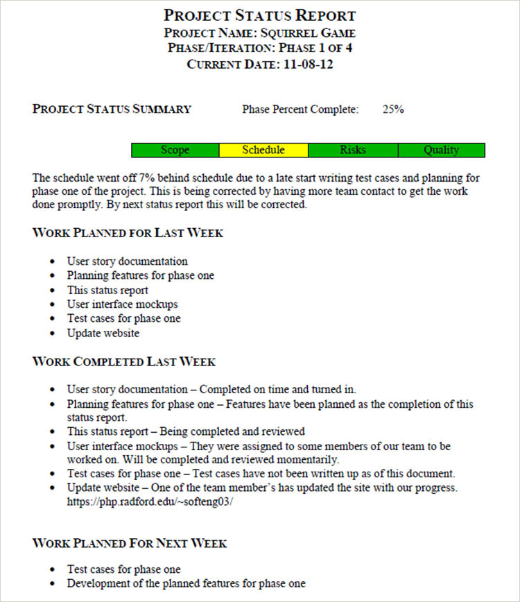 Weekly Project Report Template weekly employee status report – Weekly Employee Status Report Template