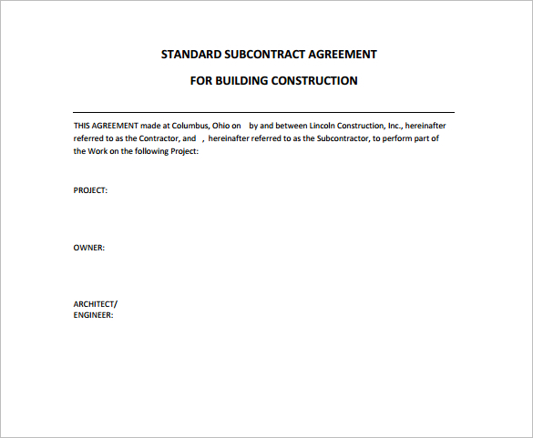 Doc618800 Blank Contracts Blank Contracts Generic Blank – Blank Construction Contract
