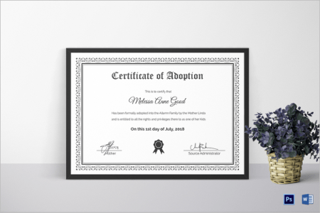 17  Adoption Certificate Templates Free PDF  Word Design Examples Adoption Certificate Template Word