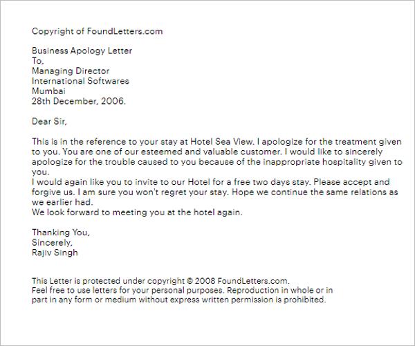 Apology Letter Boss Misbehavior