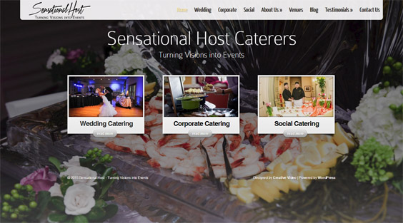 sensational host caterers website created by creative visual productions