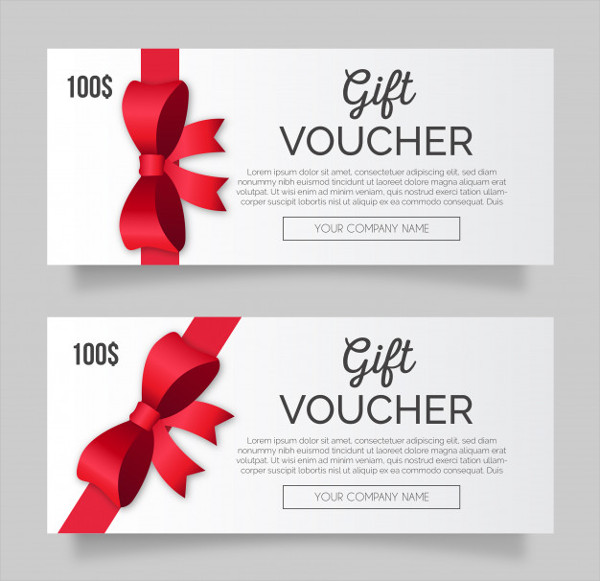 Modern Gift Voucher Pack with Red Ribbon Free Download