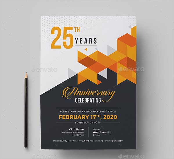 25th Anniversary Invitation Card Design