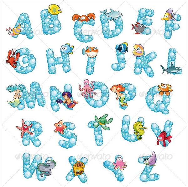 Alphabet with Fish and Bubbles