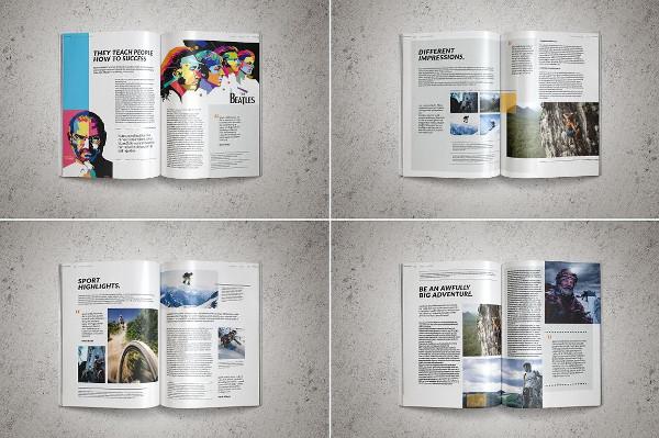 Clean Sports Magazine Templates