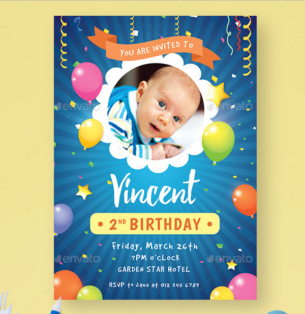 Colorful Kids Birthday Invitation PSD