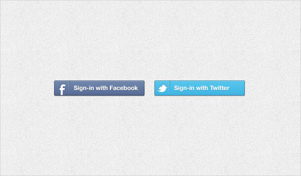 Facebook & Twitter Sign in Buttons Free