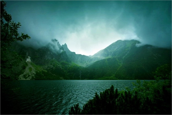 Fog and Dark Clouds in Mountains Free Download