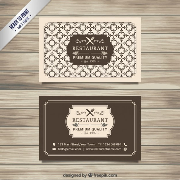 Restaurant Business Card Design Vector Free Download