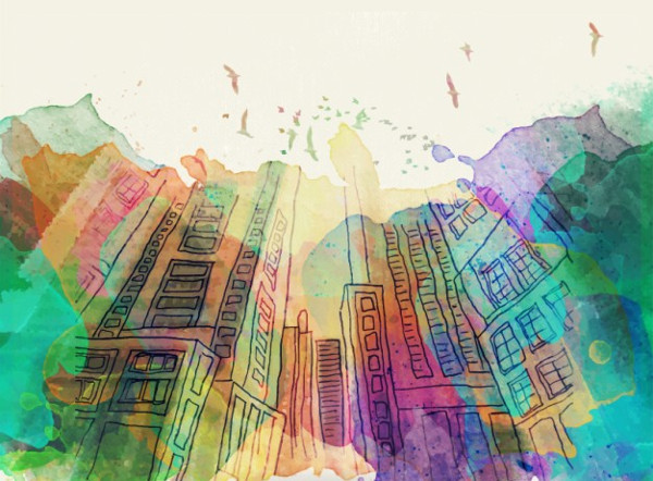 Hand Drawn Buildings with Watercolor Splashes Background Free Download