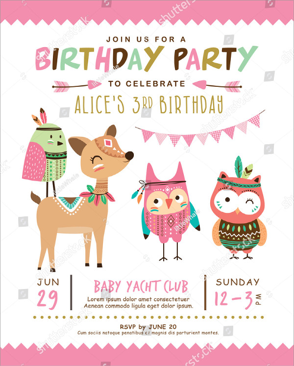 Kids Birthday Invitation Template with Cute Cartoon Animal