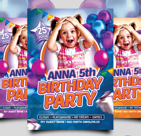 Kids Birthday Party Flyer Design