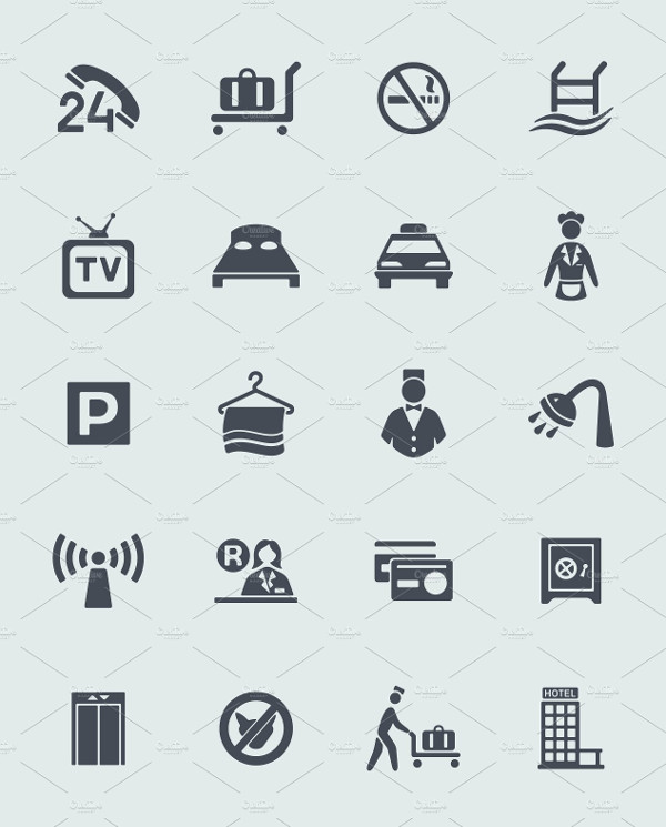 Simple Hotel Icon Collection