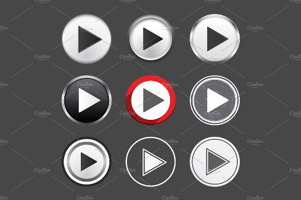 Set of Different Play Buttons Vector