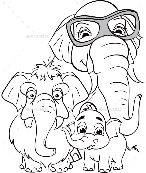 Outline Drawing of a Family of Elephants
