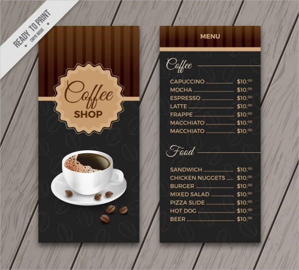 Retro Cafe Menu Template Free Vector