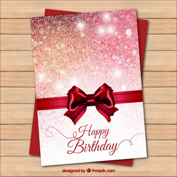 Bright Red Birthday Card with a Bow Free