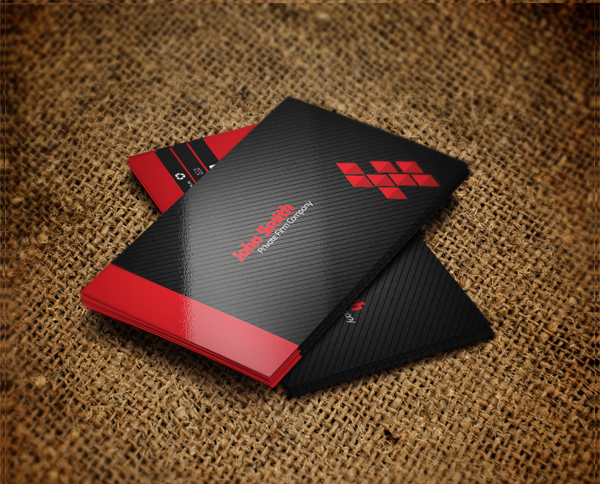 Free Vibrant Red color Business Card Template