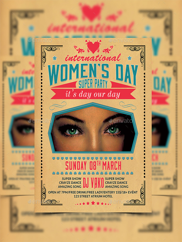 Retro Womens Day Party Flyer Templates