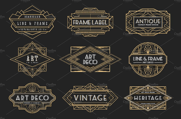 20 Art Deco Badges & Frames