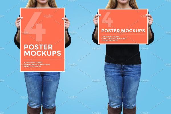 4 Beautiful Poster Mockups