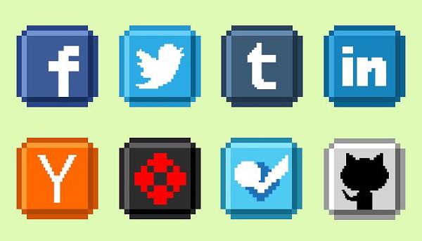 8 Bit Social Media Icons Collection