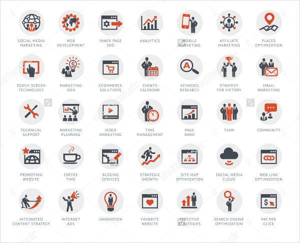 Internet Communication & SEO Services Icons