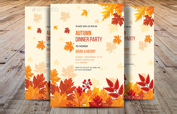 Autumn Dinner Party Invitations