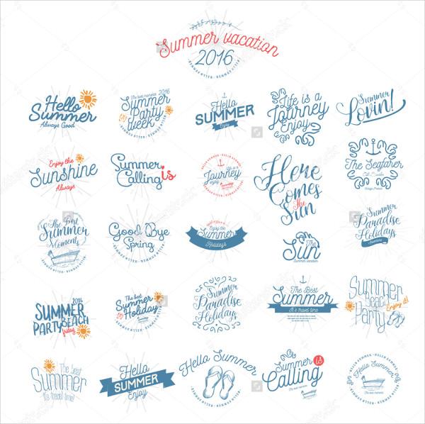 Summer Calligraphic Badges Designs Set