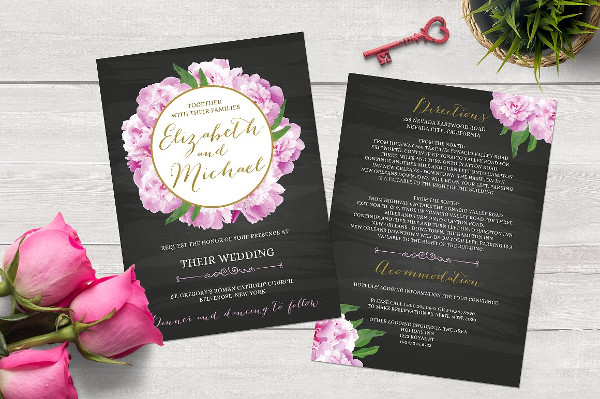 Chalkboard Peony Wedding Invitation