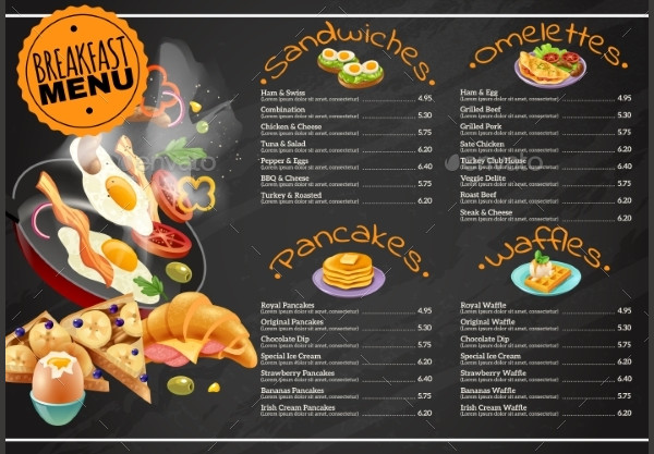 Chalkboard Breakfast Menu Design