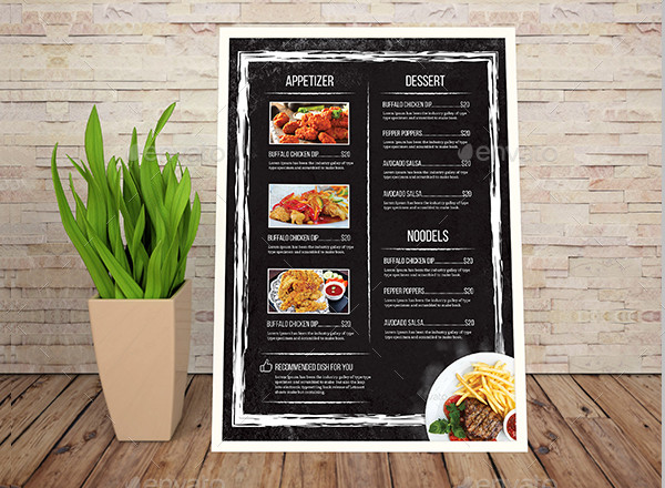 Clean Chalkboard Food Menu Template